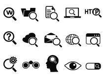 Searching icons set. Isolated searching icons set from white background Stock Photography