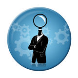Searching for Idea on a badge Royalty Free Stock Photos