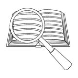 Searching of information in the book icon in outline style isolated on white background. Library and bookstore symbol. Searching of information in the book icon Royalty Free Stock Image