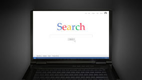 Searching information in internet with mouse arrow Royalty Free Stock Photography