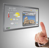 Searching a information on touchscreen tablet Royalty Free Stock Images