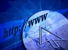 Searching the Internet. (Web-)design with a creative blue background and partly grid patterns. The arrow, globe and text are leading to the title Searching the Stock Image