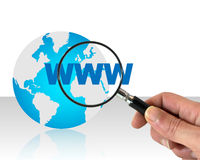Searching internet concept. Hand with magnifying glass on www word and earth globe.Searching internet concept vector illustration