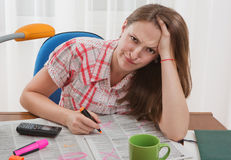 Searching for job. Young woman is search for job. She is in despair Stock Photography
