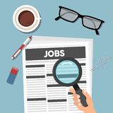 Searching job in newspaper with magnifying glass. Job concept. stock illustration