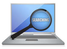 Searching laptop and magnify glass Stock Photos