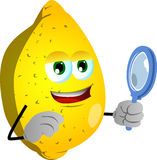 Searching lemon with magnifying glass Royalty Free Stock Photo