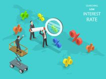 Searching low interest rate flat isometric vector. Business men using magnifying glass are searching capable locations in the Earth map for with lowest rates Royalty Free Illustration