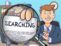 Searching through Magnifier. Doodle Concept. Stock Image