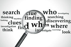 Searching. A magnifying glass over a selection of words Stock Photos