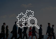 Searching Magnifying Glass Teamwork Concept.  Royalty Free Stock Photos