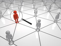Searching Man on the Network. 3D magnifying Glass man in a Network Stock Images