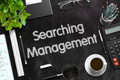 Searching Management on Black Chalkboard. 3D Rendering. Royalty Free Stock Image
