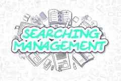 Searching Management - Cartoon Green Text. Business Concept. Royalty Free Stock Image