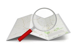 Searching map  3d illustration Royalty Free Stock Photos