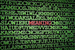 Searching for meaning. Image illustrating the concept of a hidden meaning stock image
