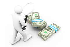 Searching money concept. 3d business Man with magnifier and dollars. Searching money Stock Image