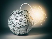 Searching new job concept. Bomb from newspapers  with job vacati Stock Photography
