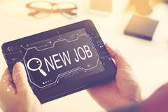 Searching new job theme with a tablet computer stock illustration