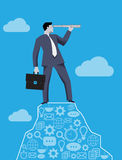 Searching new opportunities business concept. Successful businessman with case and looking glass on the top of the mountain, looking around and searching for stock illustration