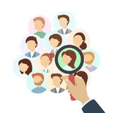 Searching for new staff. Searching for new staff from list with magnifying glass Royalty Free Stock Photography
