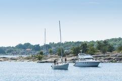 Searching nightharbour Stora Nassa archipelago Stock Photo