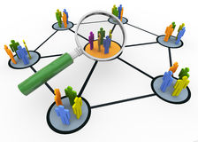Searching people. 3d magnifying glass hovers over group of people. Concept of searching group of people Stock Photos