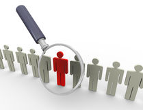 Searching people. 3d magnifying glass hovers over unique red man. Concept of searching people or employee Royalty Free Stock Photography
