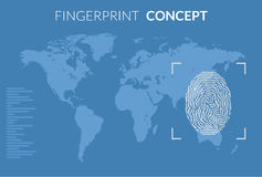 Searching people crime. Fingerprint searching concept with world map Royalty Free Stock Photography
