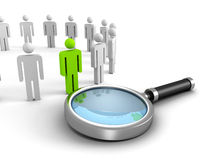 Searching people with humans icons row and magnifier glass Royalty Free Stock Photography