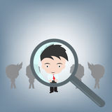 Searching people for the right job by magnifying, human resource concept illustration vector in flat design Stock Photography