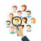 Searching for people. Hand with magnifying glass Royalty Free Stock Photo