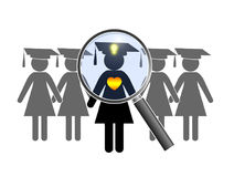 Searching for perfect Graduate. Finding a female alumnus with heart and mind at the job interview Royalty Free Stock Photo