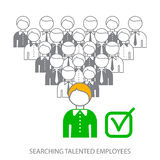 Searching professional employees. Searching talented employees. Choosing the perfect candidate for the job. Stock . Flat design vector illustration