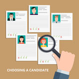 Searching professional staff. Modern colorful flat style vector illustration. HR manager looking through a magnifying glass on job candidates.Searching Stock Photography