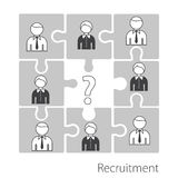 Searching professional staff. Recruitment in the form of a puzzle. Stock . Flat design Royalty Free Stock Photos