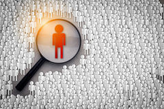 Searching for the right person concept , Magnifying glass focusi. Ng on the red man standing with many normal people paper cut shape on grey background Stock Photos