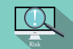 Searching risk and opportunity. Computer pc magnifying glass flat Stock Images