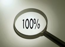 Searching 100% satisfied. Magnifying glass with the word 100% satisfied. Searching 100% satisfied Stock Image