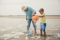 Searching for Sealife with Grandma. Searching for sea artifacts with a bucket and fishing rod at the beach with grandma royalty free stock photography