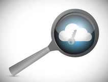 Searching for a secure cloud. magnify glass Stock Photography