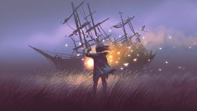 Searching the shipwreck with magic lantern stock illustration