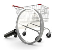 Searching shopping offer. Shopping cart with a magnifying glass, concept of search for the best deal (3d render Royalty Free Stock Photo