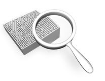 Searching solution concept idea with 3d labyrinth Stock Photos