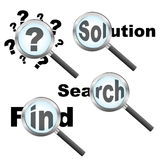 Searching solution design. Four searching solution designs with magnifier isolated on white background. EPS file available Stock Image