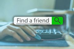 Searching tab on top of concept image with word find a friend v royalty free stock photo