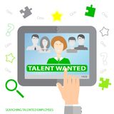 Searching talented employees.  Searching professional employees. Choosing the perfect candidate for the job. Flat design. Vector illustration EPS10 Royalty Free Stock Photography