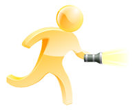 Searching torch person. Searching torch man concept, a person searching for something with a torch Stock Photo