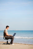 Searching the web in dream office Royalty Free Stock Photos
