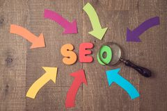 Searching website and content by SEO ranking concept. Letters, magnifying glass and arrows over wooden background. View from above royalty free stock images